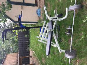Like new power tower stand and weight bench