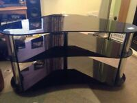 3Tier Black Glass Tv Stand