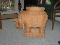 """wicker elephant end table-very unique 20"""" high"""