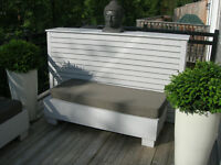 Cedar patio furniture with upholstered seat cushions