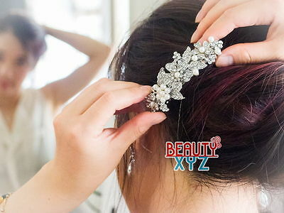 beautiful elegant wedding bridal barrette pearl and crystal