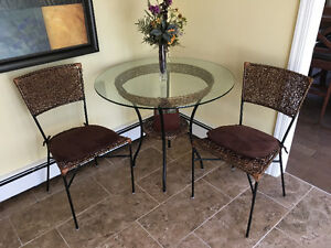 Wicker & Iron Bistro Set with Glass Top