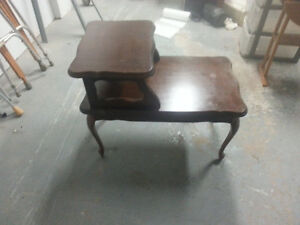 High Back Antique End Table