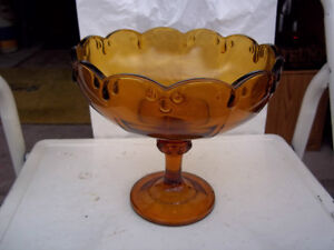 Amber Pedestal Compote - Indiana Glass – Teardrop Pattern or Gar