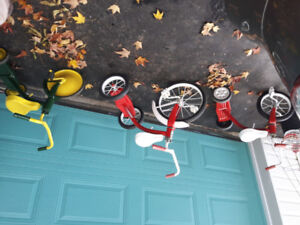 Trio of Refurbished and Refinished Vintage Toddler Tricycles