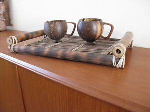 Great price for Hand crafted tray and 2 cups West Island Greater Montréal image 1