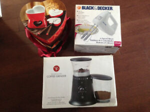 Moving Sale: brand new coffee grinder, fondue set, 6-speed mixer