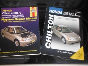 Livres Haynes repair manual et Chilton, Honda Civic- Crv 2001-04