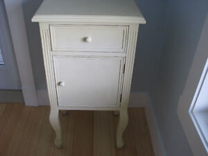Solid Wood Side Table Armoire Painted Furniture in Light Cream