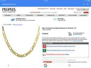 "Men's solid concave Figaro Necklace - 10K Gold - 22"" Kingston Kingston Area image 2"