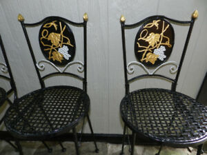 4 Fruit Cast Iron Black/Gold/Silver Restored Barstool Beauties