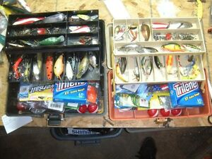 2, 2 tray fishing tackle boxes loaded with lures, line, plastics
