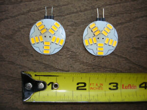 Two 12V DC Flat G4 Dimmable LED Bulbs