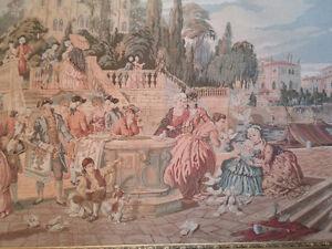 Framed Victorian Tapestry European Men Women at Venetian Harbor London Ontario image 3