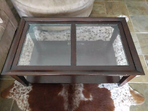 Glass topped Coffee Tables, 3 piece set