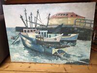 Scottish Harbour Scene Oil on Canvas
