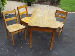 Retro Antique School Table and Chairs