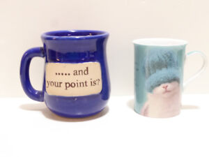 2  COFFEE TABLE MUGS WITH SAYINGS -- NEVER USED/MINT COND.