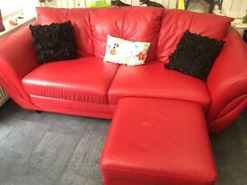 Settee & armchair - leather