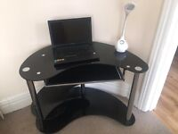 Black glass kidney shaped computer desk