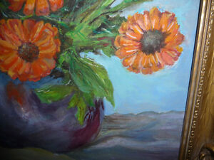 Vintage Still Life of Zinnias In A Blue Vase by M. Oliphant '47 Stratford Kitchener Area image 5