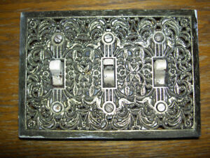 Antique light wall switch plate w/ switches