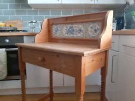 Pine tile back washstand