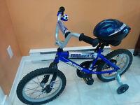 """Vélo pour garçon 16"""" avec roues d'apprentisage +casque+ sonnette"""