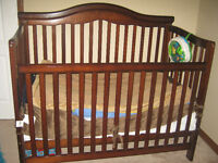 Solid oak Crib with mattress for sale