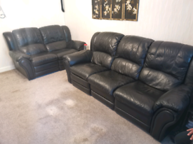 2x 3 seater leather sofas reclining