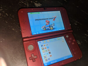 Nintendo 3DS XL RED with games.