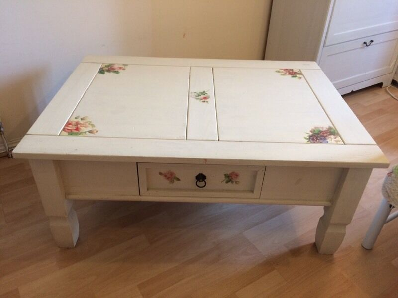 Shabby chic coffee tablein Kingston, LondonGumtree - Shabby chic coffee table used and shabby condition. Decorated with decopague flowers.Pick up from KT2 from a pet and smoke free home