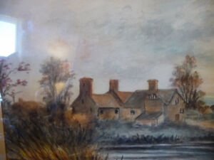 """Original Watercolor """"Village In The Country"""", Carrie Walker 1935 Stratford Kitchener Area image 7"""