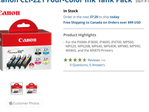 Canon printer ink CLI-221 four color ink tanks pack (NEW)