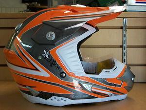 ZEUS Orange/Silver MotoCross Helmet, Medium & Large