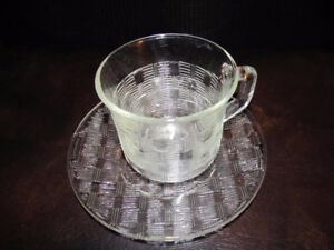 FORTECRISA MEXICO CLEAR GLASS CUP AND SAUCER