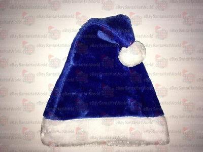 Plush Santa Hat (Blue Plush Santa Hat Ships from USA NOT FELT One or)