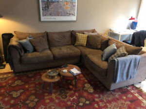 Microsuade sectional sofa for sale