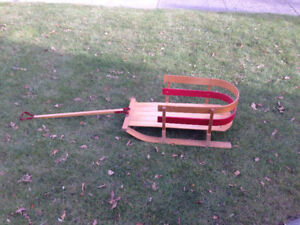 Infant / Toddler wooden Sleigh with rounded wooden back & handle