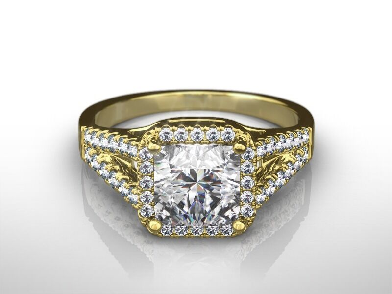 2 1/4 Ct Radiant H/si2 Diamond Solitaire Engagement Ring  Yellow Gold Enhanced