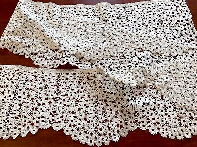Antique Length Cream Needle Work Lace 165cm X 16.5cm
