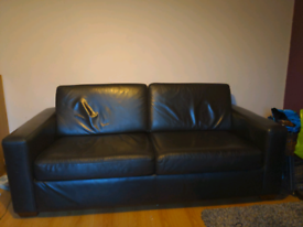 Black leather 3 seater sofa, great condition