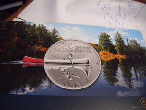 20.00 silver canadian coin of the birch bark canoe