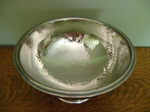 POTTERY BARN HAMMERED SILVER DECOR BOWL -CHRISTMAS GIFT