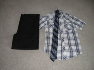 BOYS/YOUTH  BLACK PANTS,  TWO SHIRTS  AND TIE