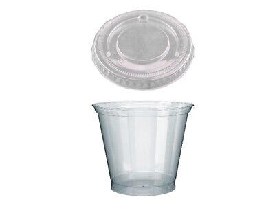 100 Dessertbecher Clear Cups 250 ml für Pudding mit Deckel (76102+579.110)