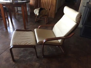 """IKEA's """"ICONIC"""" LEATHER ARMCHAIR/FOOTSTOOL- ALMOST NEW"""