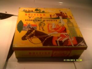 Vintage British assorted  biscuits can box