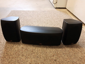 Polk rm 6750 center channel and 2 surround speakers