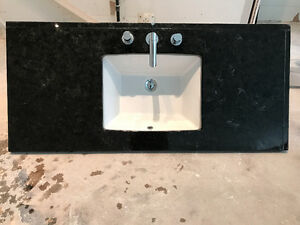 Solid Black Quartz Bathroom Countertop, Sink & Vanity